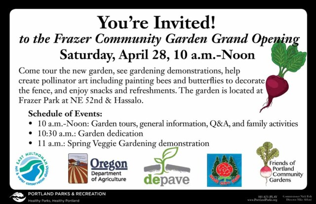 Invitation for the Frazer Park Community Garden Grand Opening celebration April 28, 2012